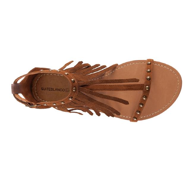 Sandalias de antelina con flecos