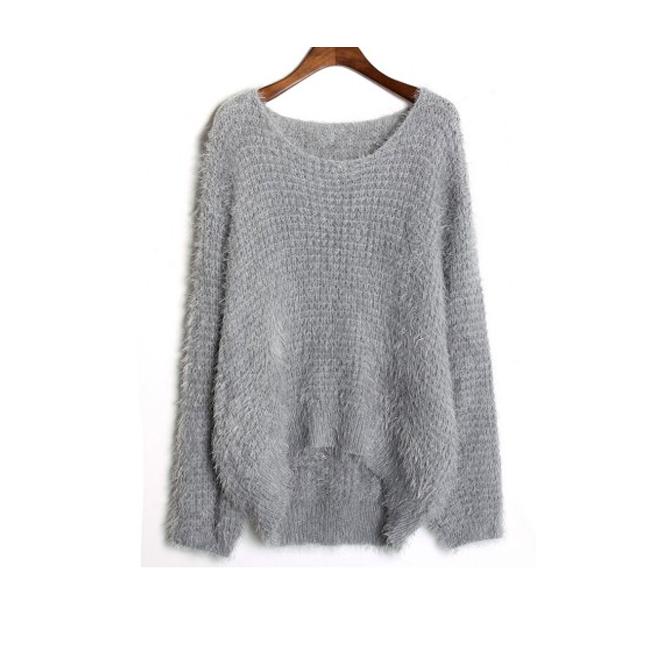 Jersey de angora gris