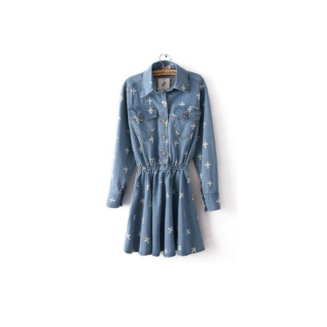 Vestido denim con cruces