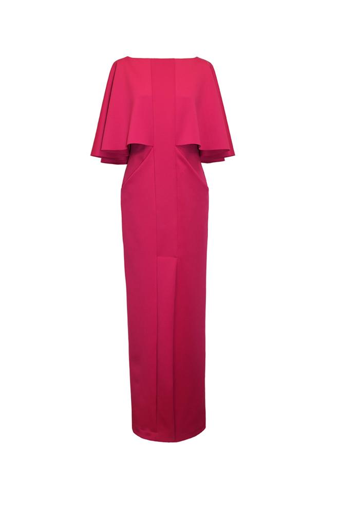 Vestido rojo de efecto capa