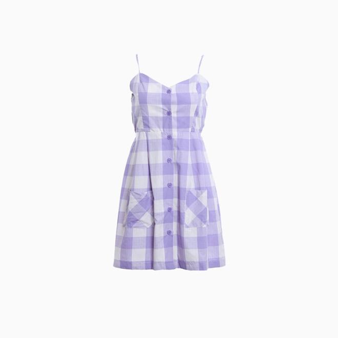 Vestido de cuadros lila
