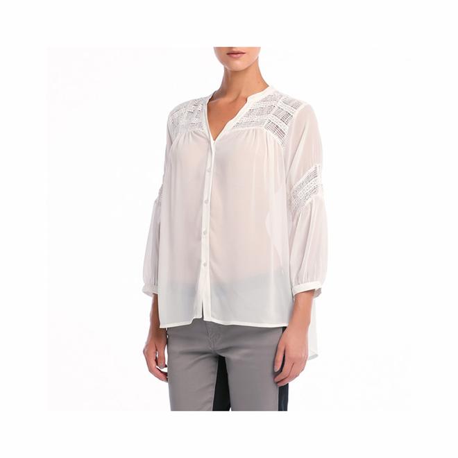 Blusa de chiffon en color blanco
