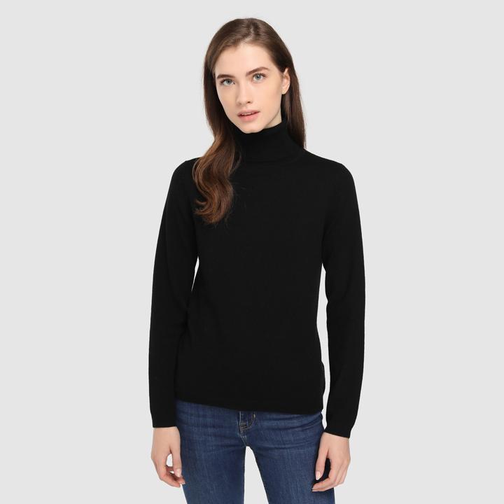 Jersey básico con cuello cisne: piezas de cashmere