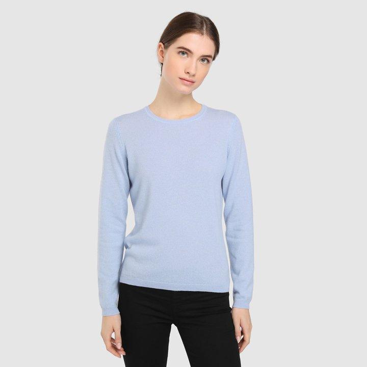 Jersey básico con cuello redondo: piezas de cashmere
