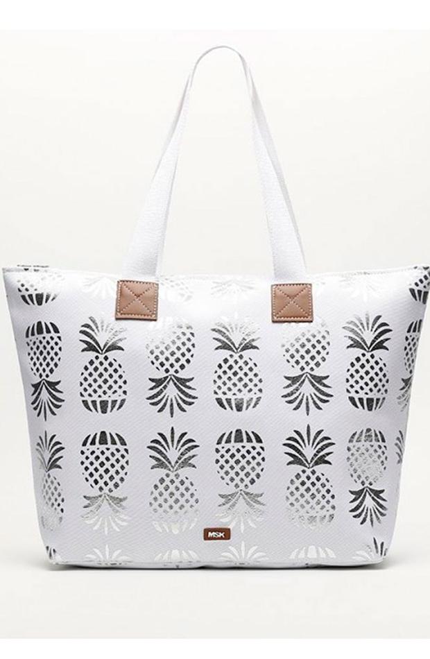 Blanco con piñas: bolsos verano y oficina