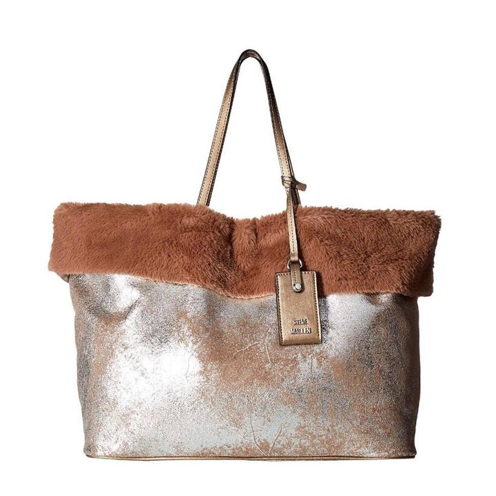 Bolso de hombro en marrón con interior de borreguito de Steve Madden: prendas borreguito