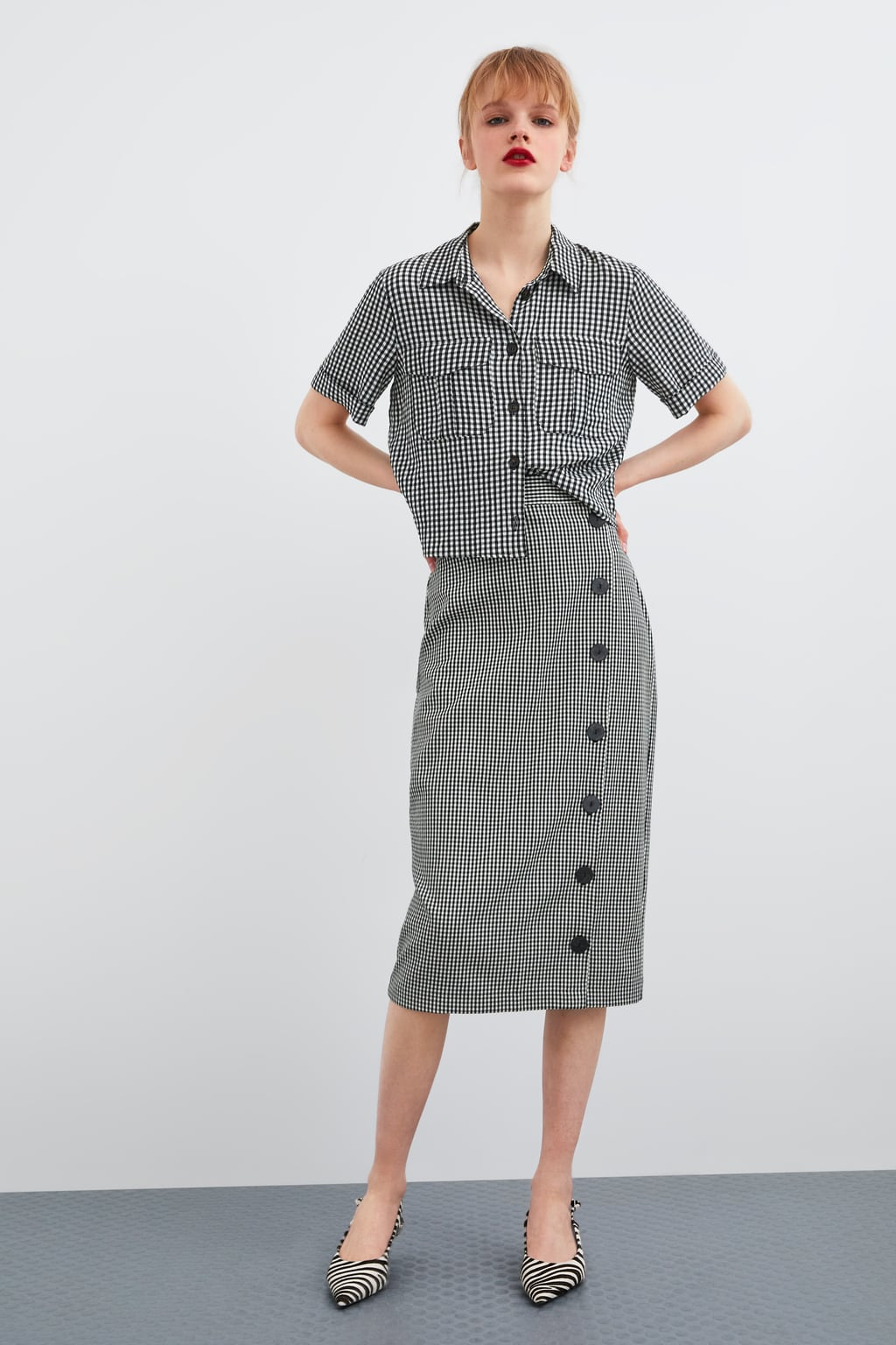 Camisa de Zara de estampado de cuadros vichy