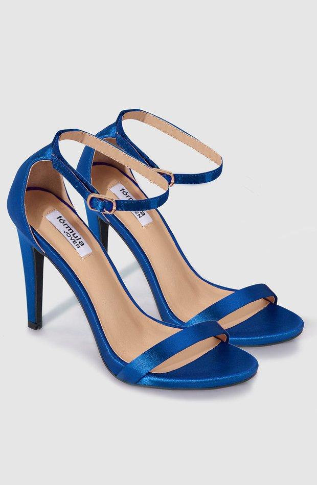 Sandalias de tacón de raso en color azul de Fórmula Joven: prendas colores ácidos