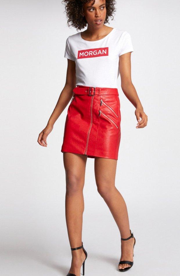 Falda corta con detalles cremallera de Morgan: prendas colores ácidos