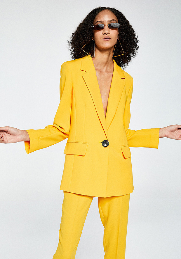 Traje de chaqueta de primavera amarillo de Sfera