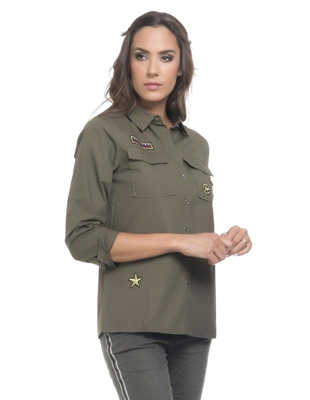 Camisa de mujer Tantra verde militar con parches