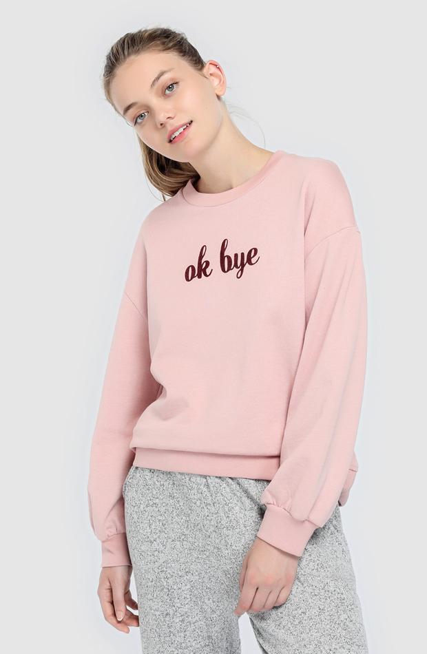 Sudadera rosa con mensaje de Easy Wear: prendas rosa