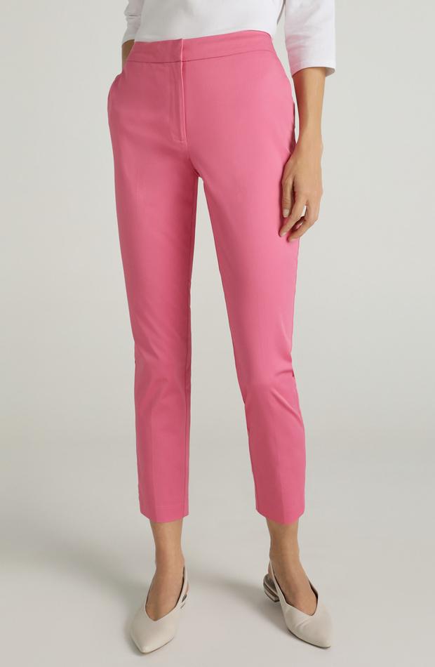 Pantalón con algodón y cierre delantero de Woman El Corte Inglés: prendas rosa