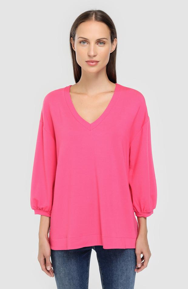 Sudadera con manga francesa y escote en pico de Woman El Corte Inglés: prendas rosa