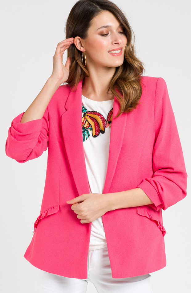 Blazer con cuello solapa y manga francesa de Naf Naf: prendas rosa
