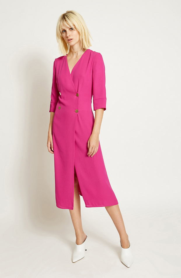 Vestido midi fucsia de Poéte: prendas rosa
