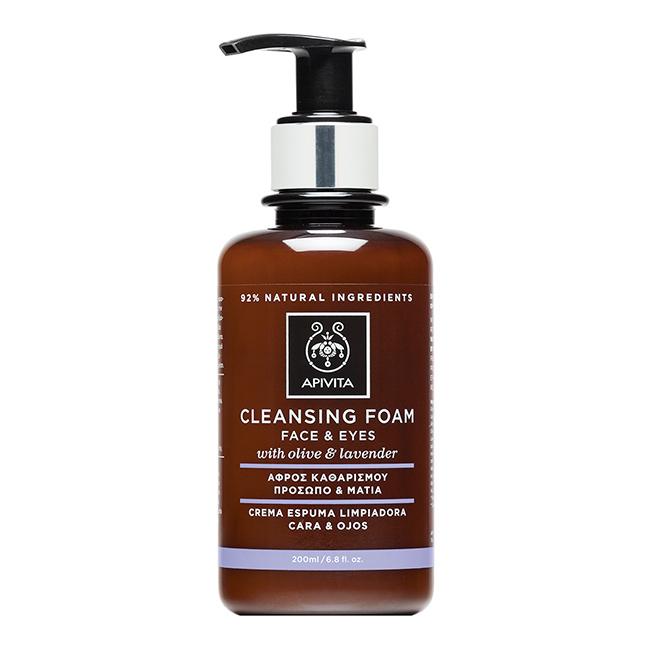 Crema Espuma Limpiadora Facial & Ojos oliva & lavanda Apivita