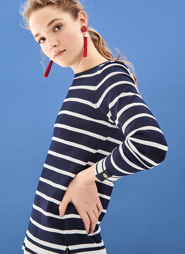 Outfits de entretiempo: Jersey de rayas