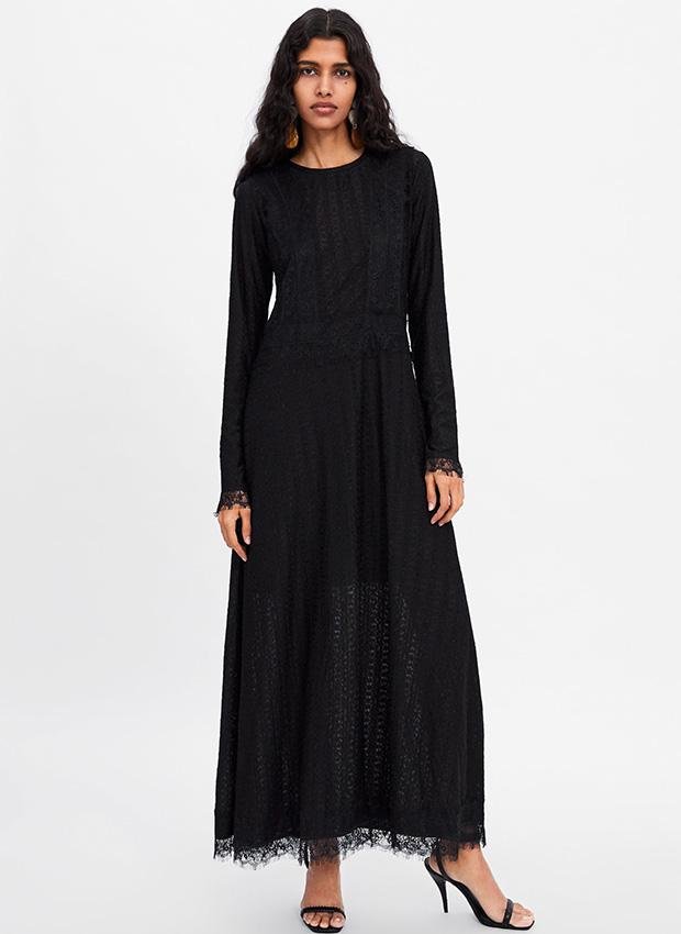 Outfits de entretiempo: vestido largo negro