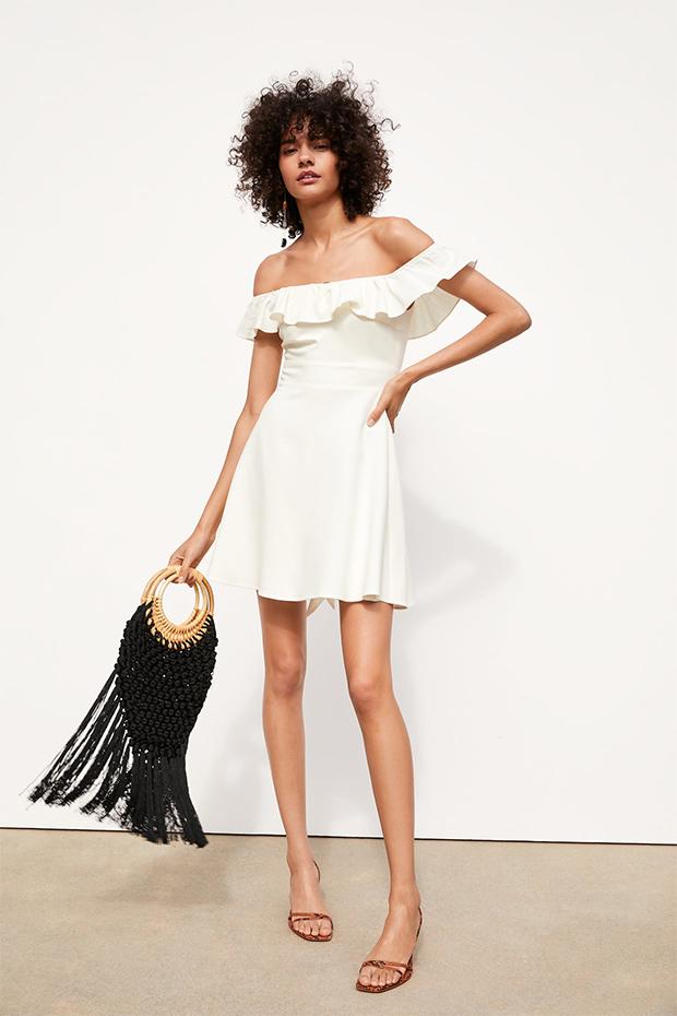 Vestido blanco de Zara con escote bardot