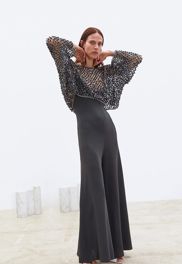 Jersey cropped con cuello redondo de lentejuelas de Zara