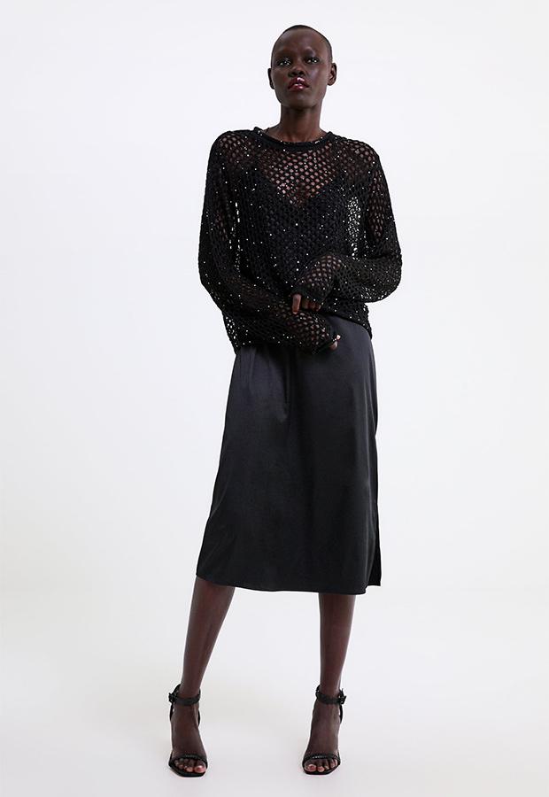 Jersey de red de lentejuelas de Zara