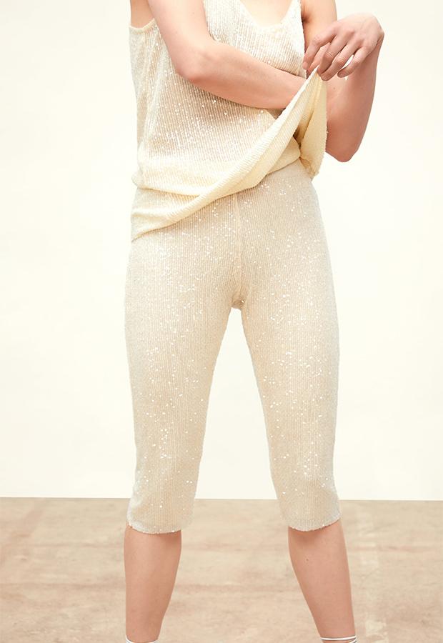 Pantalón crudo de lentejuelas de Zara