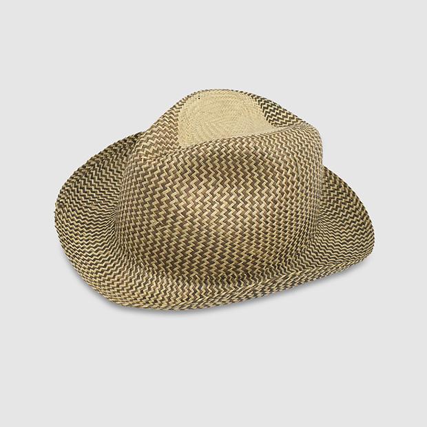Sombrero borsalino de mujer en paja de color tostado