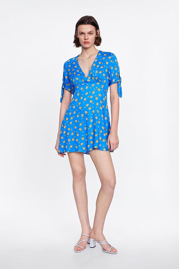 vestido rustico azul zara