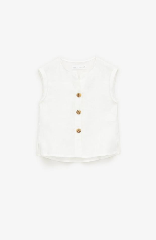 Camisa blanca de la colección verano 2019 de Zara Kids