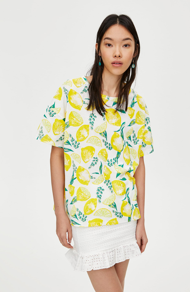 Camiseta anudada de estampado de limones
