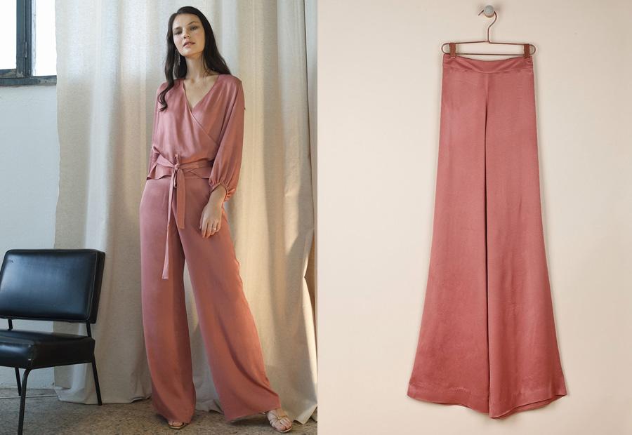 Pantalón rosa de satén de la colección Celebrate de Indi&Cold