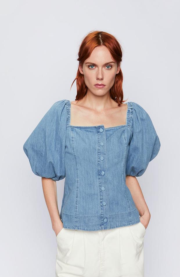Camisa de Zara vaquera con mangas farol
