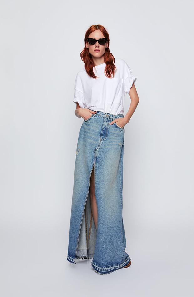 Falda denim larga con abertura de Zara
