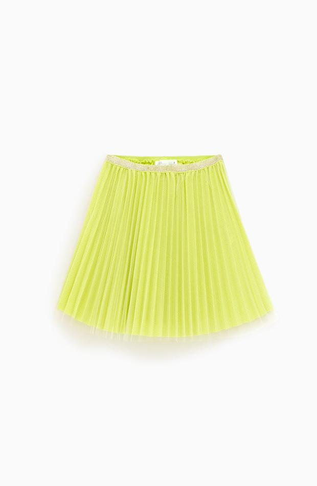 Falda amarilla plisada de Zara Kids