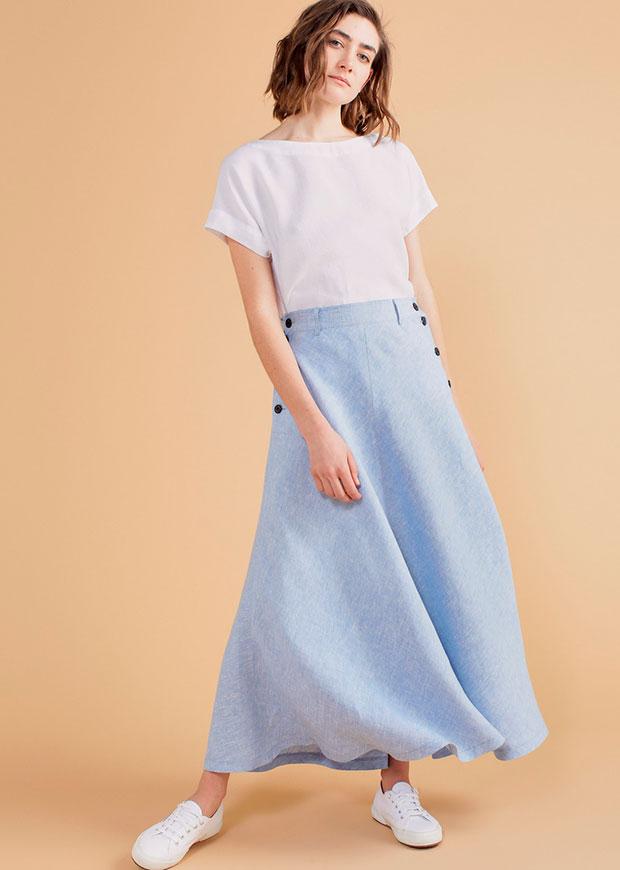 Falda midi con botones en azul bebé