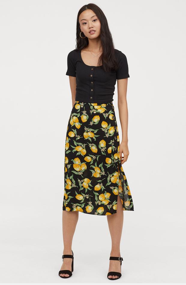 Falda pareo con estampado de limones