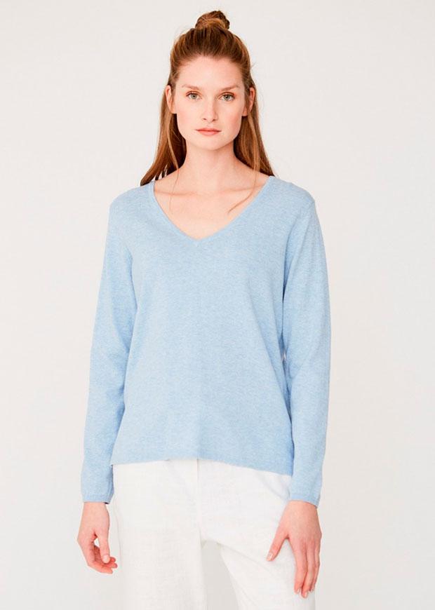 Jersey de mujer de Yerse en algodón azul bebé