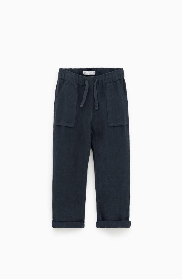 Pantalón azul marino de lino de la colección verano 2019 de Zara Kids