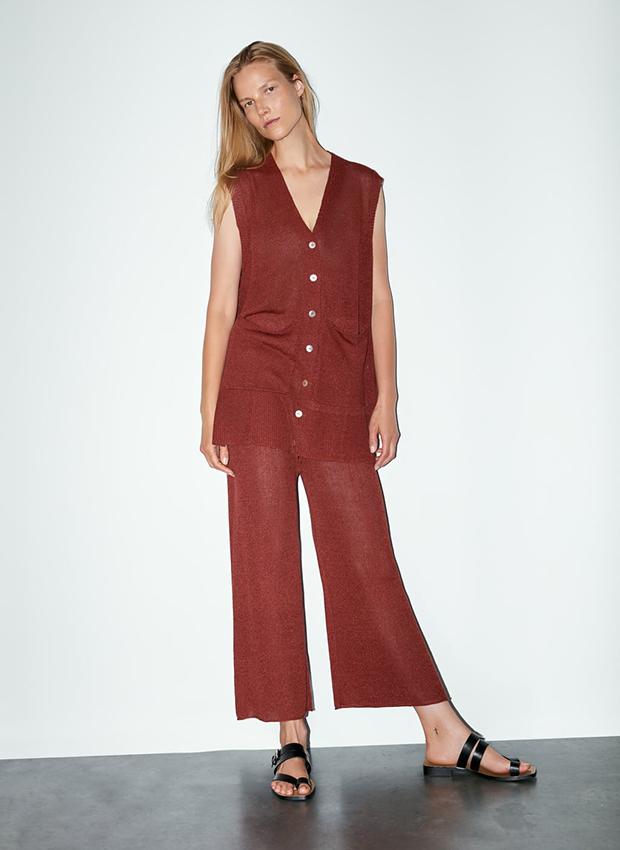 Pantalón culotte granate de punto de Zara
