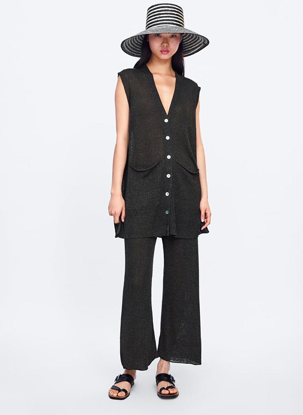 Pantalón culotte de punto de Zara