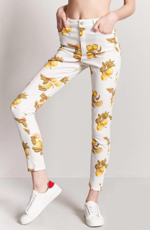 Pantalones pitillo de estampado de limones