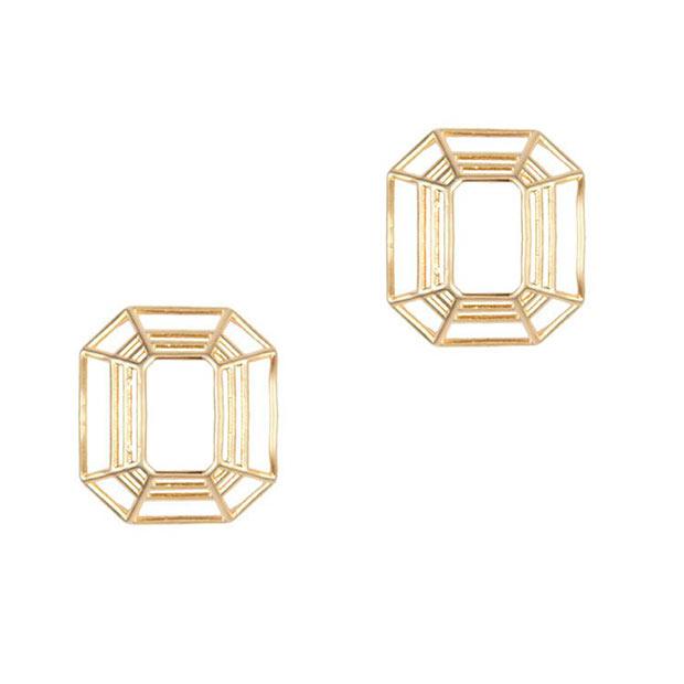 Pendientes Octogonales en dorado de Trepillé
