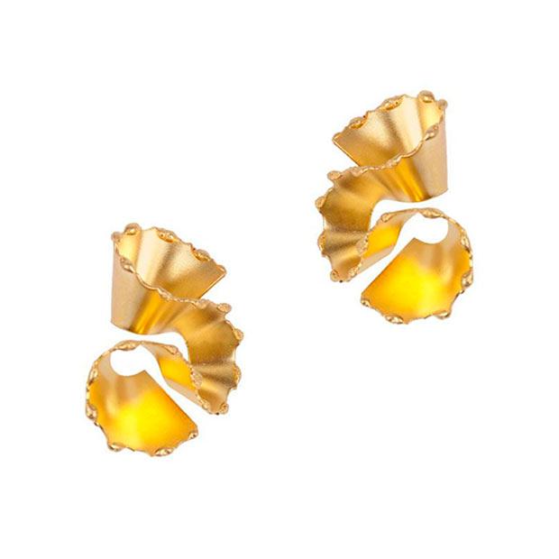 Pendientes Alga en dorado de Trepillé
