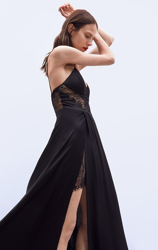 Vestido de Zara negro con encaje