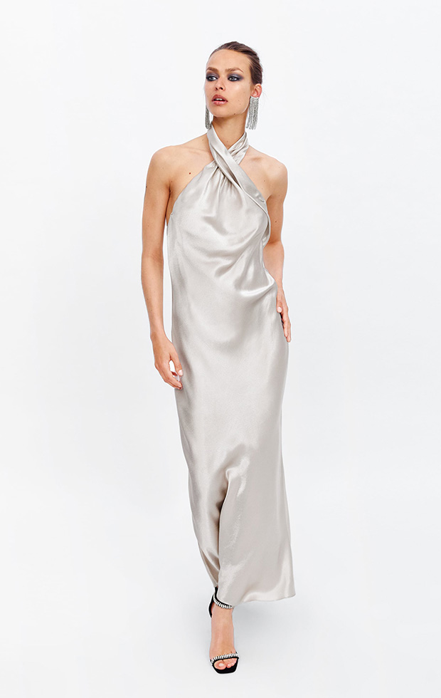 Vestido de Zara plateado