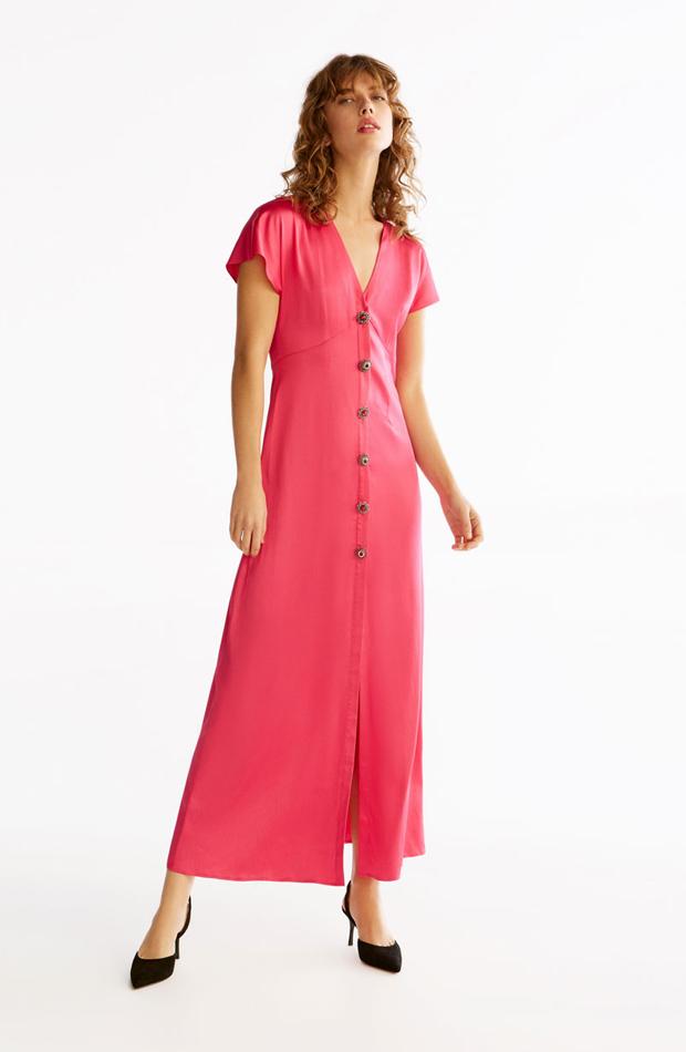 Vestido rosa con botones de ropa de fiesta de verano