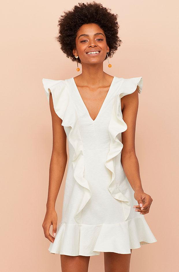 Vestido corto de volantes de H&M