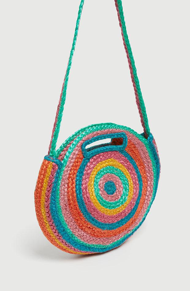 bolso redondo de yute de colores