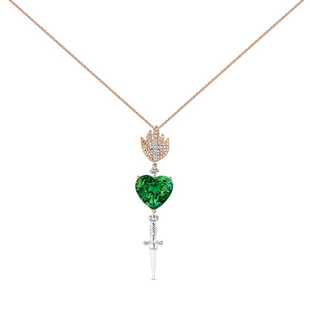 Sagrado corazón con turmalina verde de la Colección El Alma de los Sueños de Suarez